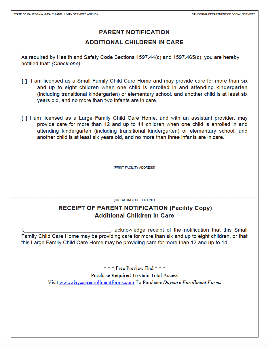 Daycare Enrollment Forms: Child Care Registration Forms